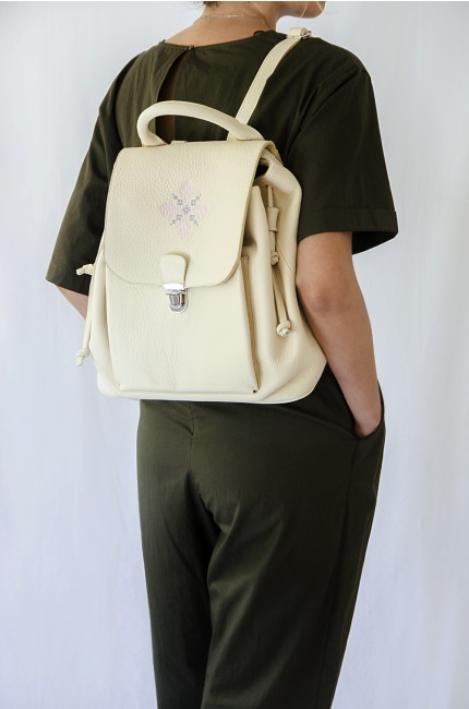 Cream leather backpack