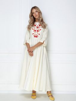 white long embroidered dress stylezza