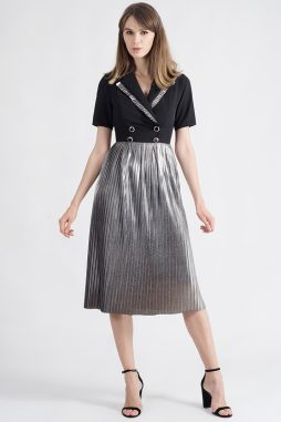 CELESTE BLACK DRESS WITH LAPELS AND SILVER PLEATS