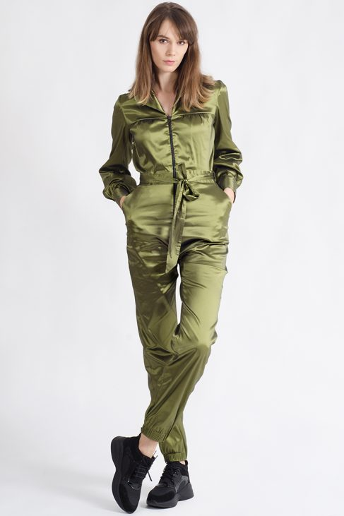 ANGELINE OLIVE TAFFETA UTILITY JUMPSUIT WITH PUFFED SLEEVES
