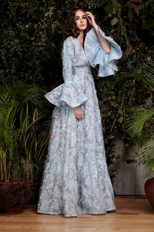 blue floral evening dress clara rotescu