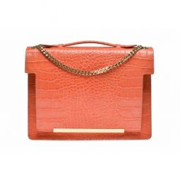 coral crocodile leather orange bag