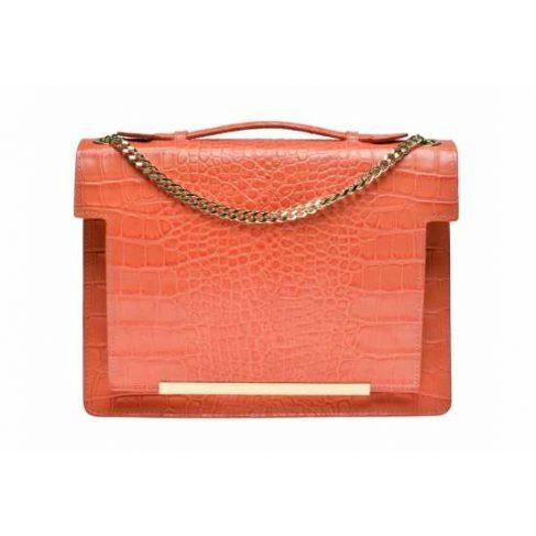 coral crocodile leather orange bag