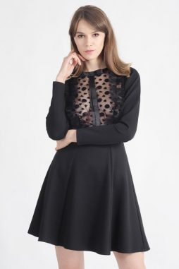 eve bow and ruffles black dress