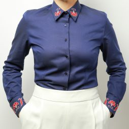 POPPY FLOWER NAVY BLUE SHIRT