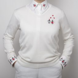 white sweater with embroidery