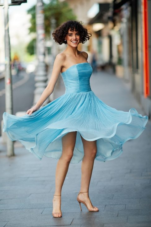 selma silk pleated cocktail dress