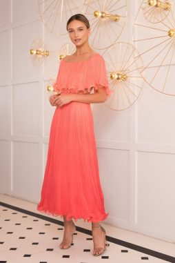coral pleated silk dress