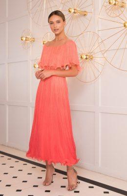 coral pleated silk dress