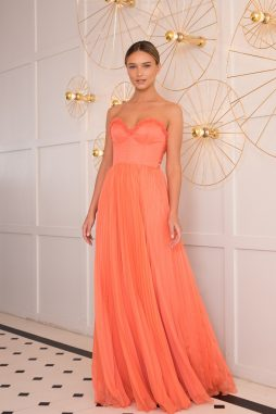 coral chiffon long evening dress