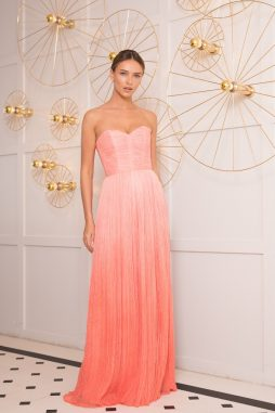 long silk pleats evening dress