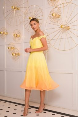yellow silk cocktail dress