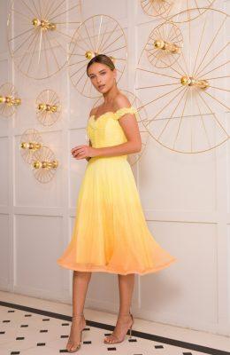 yellow silk cocktail dress