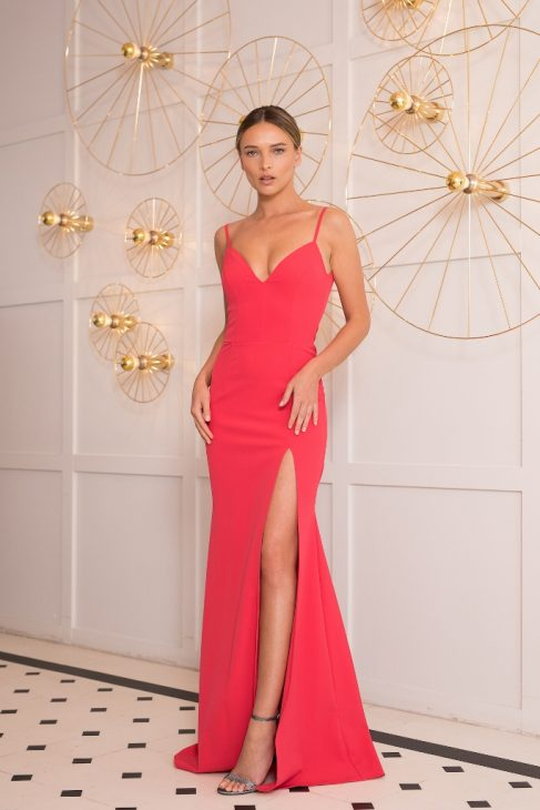 CORAL LONG EVENING DRESS