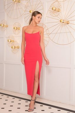 evening dress coral