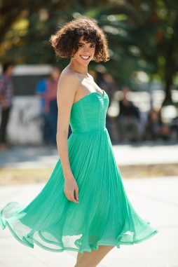 GREEN SILK COCKTAIL DRESS