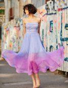 lavender silk corset cocktail dress