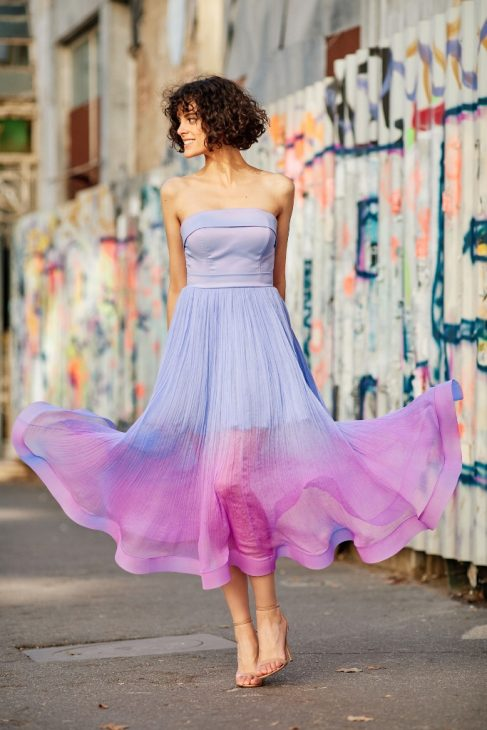 lavender silk corset cocktail dress