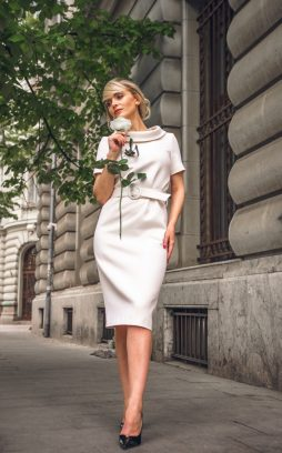 Acob Mood- WHITE MIDI DRESS