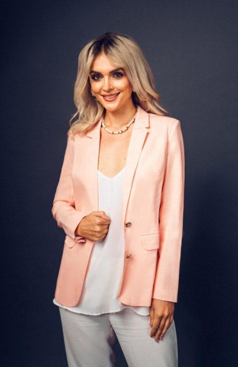 Pink Salmon Classic Linen Jacket