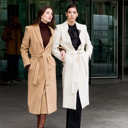 wool coats brown white