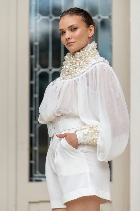 delta white blouse with pearls